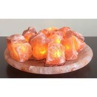 Солевая лампа ОГНЕННАЯ ЧАША (Pink) с 15 камнями на большом блюде из гималайской соли 2,5-3кг
